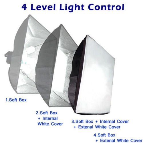 New 3600W Photography & Video Studio Softbox Continuous Lighting Kit Stand Case front-273027