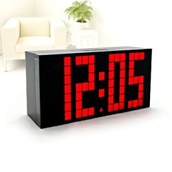 RioRand™ Ultra Large Big Number Jumbo LED Snooze Wall Desk Alarm Clock with ultra narrow frame design- RED Light(size:170mm*85mm*55mm)