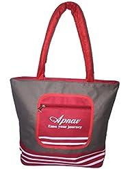 Apnav Grey-Red Waterproof Shopping/Grocery Bag