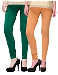 2Day Women's Cotton Churidaar Legging Bottle Green/ Skin (Pack Of 2)