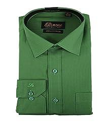 La MODE Solid Green Formal Shirt(LA01335_B58433-38)