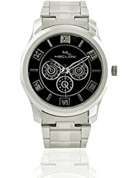 Silver Analog Chain With Round Black Dial Wrist Wtaches For Men Boys By Meclow