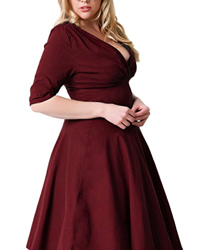 Nemidor Women's Vintage 1950s Style Sleeved Plus Size Swing Dress (16W, Burgundy)