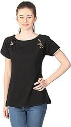 Unimod Women's Cotton Regular Fit Top (U020_Black_XS, Black, XS)