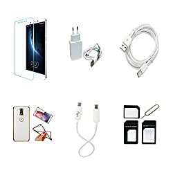 High Quality Combo of LeTV 1s Temper Glass + 2 Amp USB Charger + Type C Data Cable + Attractive Back Cover (Transparent Back with Golden Border) + Car Anti Slip Mat