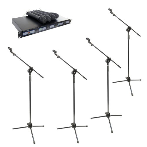 Pyle Mic And Stand Package - Pdwm5000 4 Mic Vhf Wireless Microphone System - 4X Pmks3 Tripod Microphone Stand W/ Extending Boom