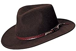 Indiana Jones Men's Water Repellent Wool Felt Outback,X-Large,Brown-555
