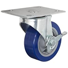 E.R. Wagner Plate Caster, Swivel with Pinch Brake, Polyurethane on Polyolefin Wheel