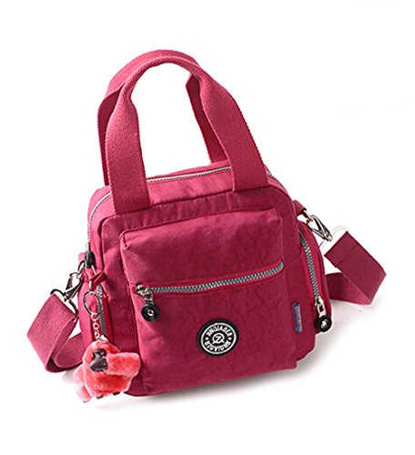 fanselatm-womens-travel-waterproof-nylon-tote-single-shoulder-crossbody-handbag-dark-red