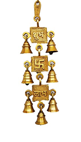 Odishabazaar Subh Swastik Labh Decorative Brass Hanging Bells - 13 X 3.25 Inches