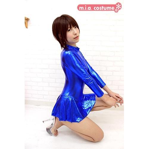 【コスプレ衣装】 スカート付き長袖レオタード 【色:青】 (男性用サイズ)