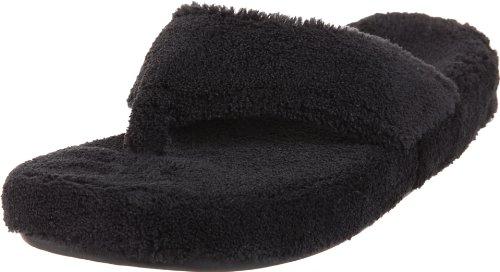 ACORN Women's New Spa Thong Slipper,Black,Large (US Women's 8-9 M)
