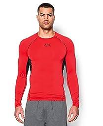 Under Armour Men\'s UA HeatGear Armour Long Sleeve Compression Shirt Small ROCKET RED