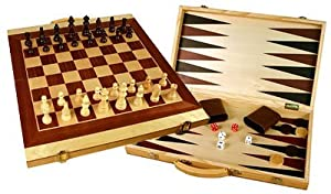 "Folding 20"" Wooden 3-in-1 Chess, Checkers & Backgammon Game Set"