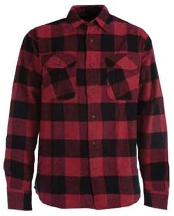 Men's Berne Heavyweight Flannel Work Shirt, RED PLAID, M