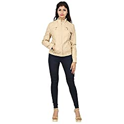 SHOPPERCHOICE women beige polyurethane full sleeved solid jacket