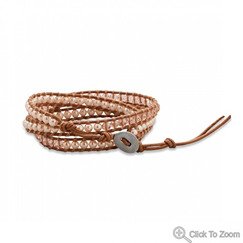 Leather Fashion Wrap Bracelet With Pink Crystal And Glass Pearls