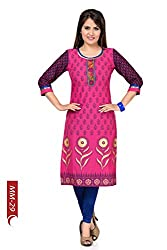 Desi Aura NX Meticulously Motley Long Cotton Tunic for Women with Printed Design (Pack of 1)