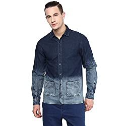 Atorse Mens Dark Blue Casual Denim Shirt with Faded Bottom and Sleeve