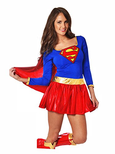 Deluxe Supergirl Fancy Dress Costume - Sizes 10 to 12, 14 to 16