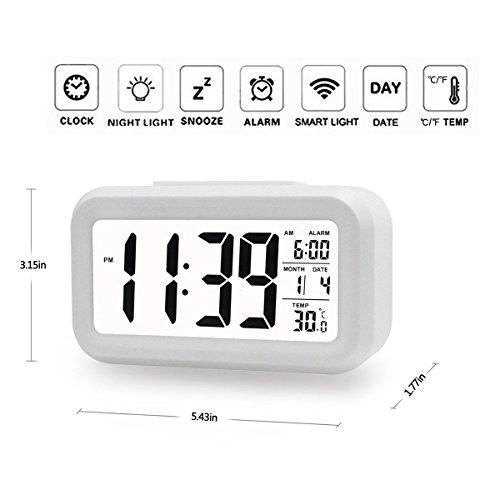 boyon alarm clock smart desk wake up travel clock light sensor digital battery operated display. Black Bedroom Furniture Sets. Home Design Ideas