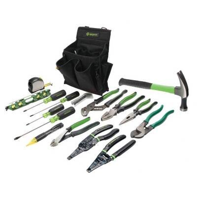 Greenlee 0159-12 17-Piece Journeymans Electrician Tool Kit Journeyman Electricians 17-Piece Tool Kit is based on Greenlees 20-pocket Tool Caddy (Greenlee Tool Caddy compare prices)
