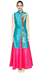 Rozdeal Turquoise Bird Embroidered Long Achkan Jacket With Pink Skirt Lehenga