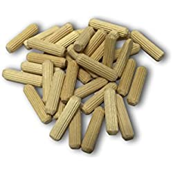 "Wood Dowels 100 Pins 1/4"" x 1"" 100 Pack #1 Best High Quality Fluted Wooden Dowel Pins in Reusable Bag Chamfered Beveled Edges Made In the U.S.A."