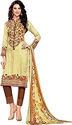 SANVAN Cotton Silk Yellow Brown Dress Material