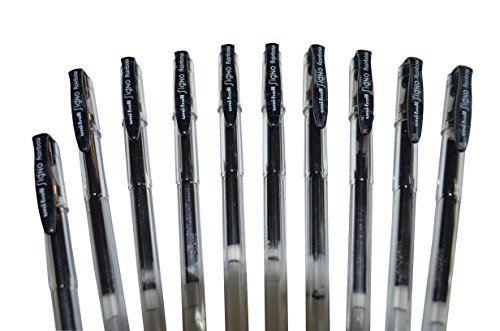 Set di 10 Uni-Ball Penna Nero Gel/Signo Gel Ink Pen Black X 10