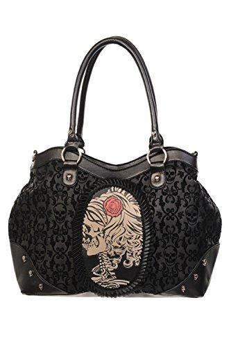 Gebannt schwarz beflockt Cameo Lady Rose Schädel-Handtasche - Black / One Size