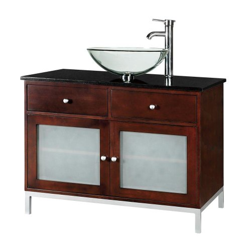 Black friday amanda 36 inch dark brown modern vessel sink for Cheap black kitchen cabinets