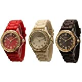 (Red, Beige, Brown) w/ Gold Tone Platinum Silicone Rubber Jelly w/ CZ Crystal Rhinestones Face Bling Bezel Watch