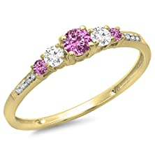 buy 14K Yellow Gold Round Cut Pink Sapphire & White Diamond Ladies Bridal 5 Stone Engagement Ring (Size 8)
