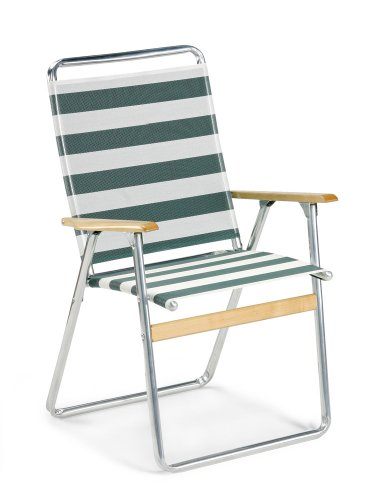 Telescope Casual Easy In And Out High Back Folding Beach Arm Chair, Cabana Green/White