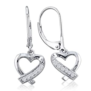 Diamond Heart Dangle Leverback Earrings set in Sterling Silver .08ct tw