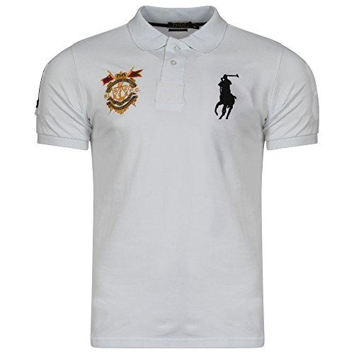 Ralph Lauren Masterclass Big Pony Polo da uomo a maniche corte custom fit White Large