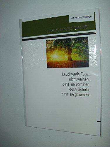 """Trauerkarte Beileidskarte Aufrichtige Anteilnahme Kondolenzkarte mit """"Herzliche Anteilnahme mit Textvorschlägen"""" Karte mit Umschlag"""