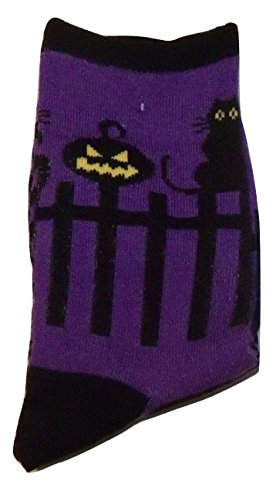 Halloween Crew Sock ~ Size 6-8, Shoe Size 10.5-4 (Black Cat and Pumpkin on Fence)