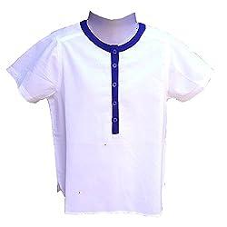 Aummade Summer Boy's shirt, white and blue, 6-7 years