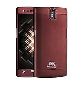 Heartly GKK Double Dip Flip Hard Shell Premium Bumper Back Case Cover For OnePlus One 4G - Metal Burgundy