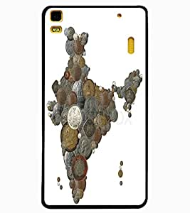 ColourCraft Indian Map made with Coins Design Back Case Cover for LENOVO A7000 PLUS