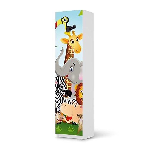 Möbel-Aufkleber IKEA Pax Schrank 201 cm Höhe – 1 Tür / Design Sticker Wild Animals / selbstklebende Dekoration jetzt bestellen