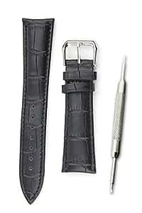 【本革製 クロコダイル型押し 黒 20mm】時計ベルト 時計バンド ストラップ 交換 腕時計【バネ棒外しセット】