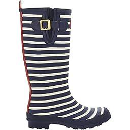 Joules Women\'s Welly Print Rain Boot, Navy Stripe, 7 M US