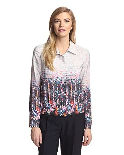 Magaschoni Women's Silk Shirt Jacket  [Prism Floral]