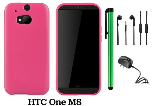 Htc One (M8) Solid Plain Color Tpu Protector Back Cover Case (2014 Q1 Released; Carrier: Verizon, At&T, T-Mobile, Sprint) + Travel (Wall) Charger + 3.5Mm Stereo Earphones + 1 Of New Assorted Color Metal Stylus Touch Screen Pen (Pink)