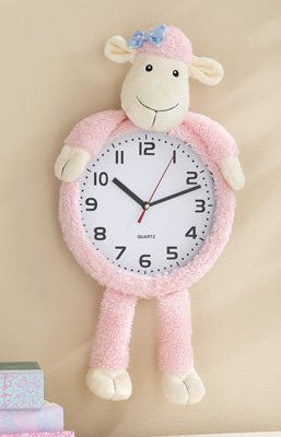 Pink Lucy Lamb Decorative Wall Clock - 1