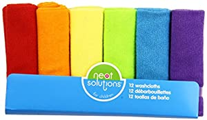Neat Solutions 12 Pack Solid Bright Washcloth Set, Colors May Vary