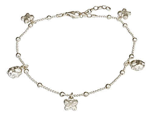 Sterling Silver 9 inch to 10 inch Adjustable Bead Anklet with Ladybug and Butterfly Dangles
